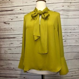 RACHEL Rachel Roy Yellow Blouse with Bow Tie XXL